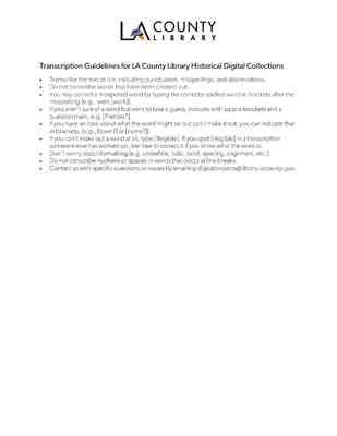 LA County Library Transcription Guidelines