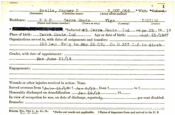 "Indiana WWI Service Record Cards, Army and Marine Last Names ""SUT - SZY"""